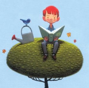 boy reads on treetop